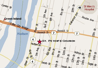 Location of St. Peter's, Troy, New York